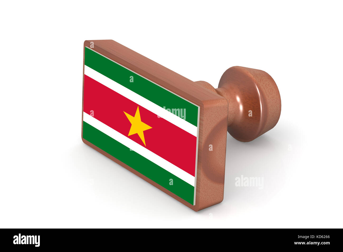 Wooden stamp with Suriname flag image with hi-res rendered artwork that could be used for any graphic design. - Stock Image
