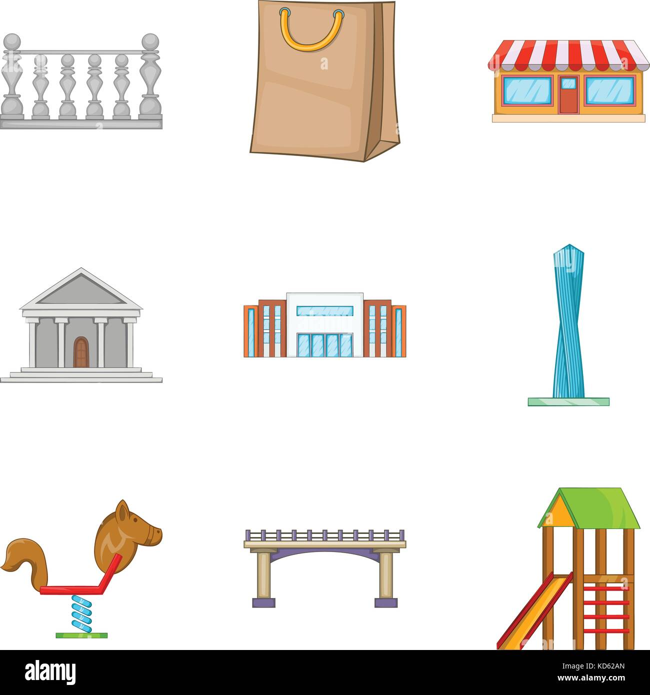 Significant place icons set, cartoon style - Stock Image