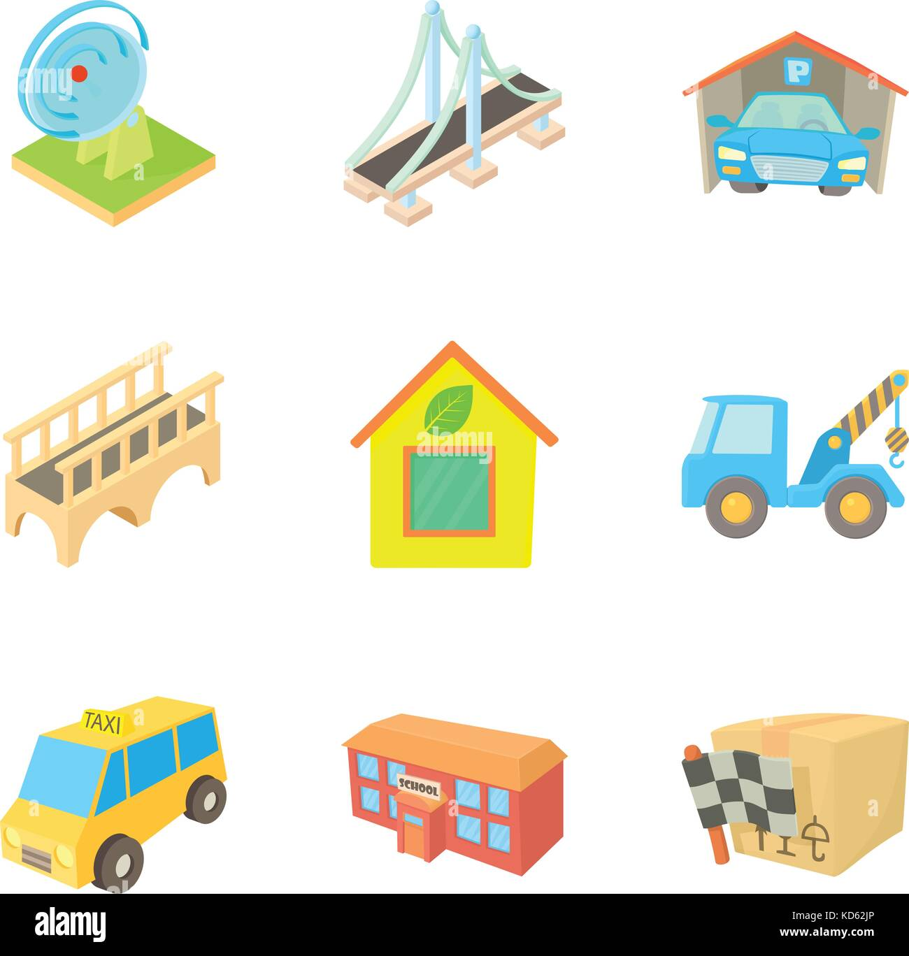 Periphery icons set, cartoon style - Stock Image