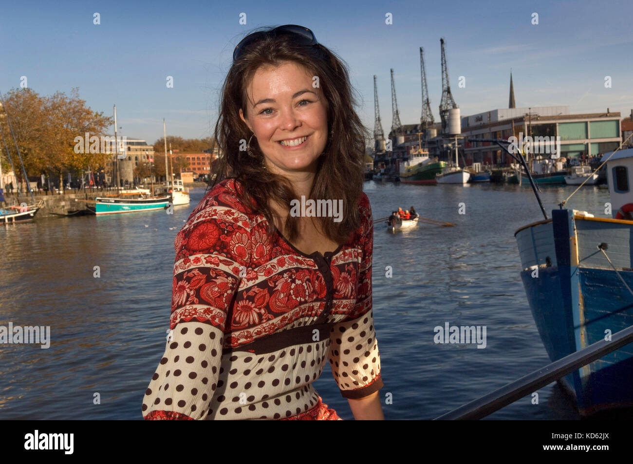 Elizabeth White, BBC producer/director/filmmaker with Natural History Unit, on her roof terrace overlooking Bristol - Stock Image