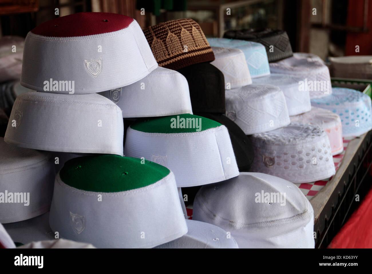 411d54d08fb Muslim prayer cap for sale at Payang Market in Kuala Terengganu
