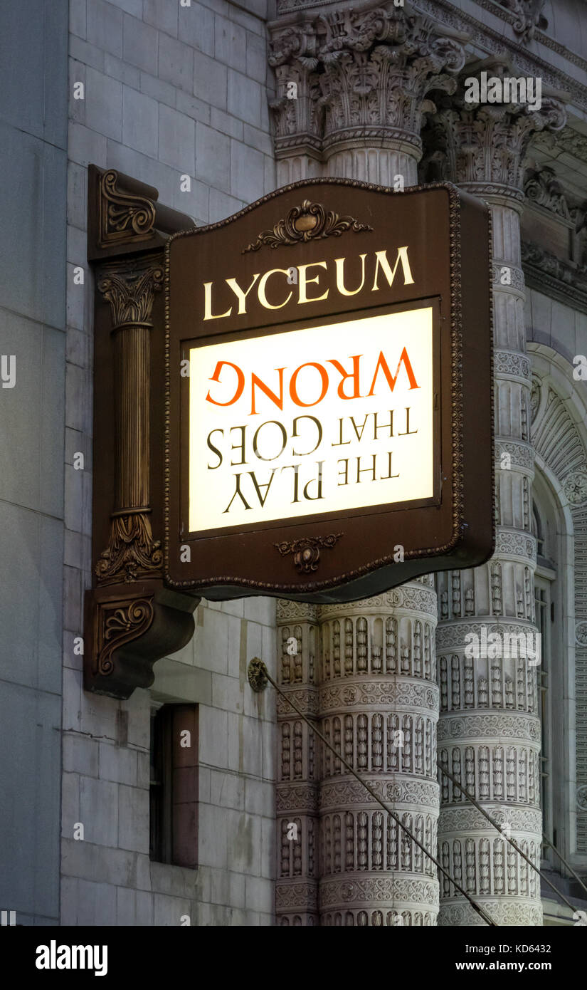 Upside down sign on the Lyceum marquee advertising The Play That Went Wrong - Stock Image