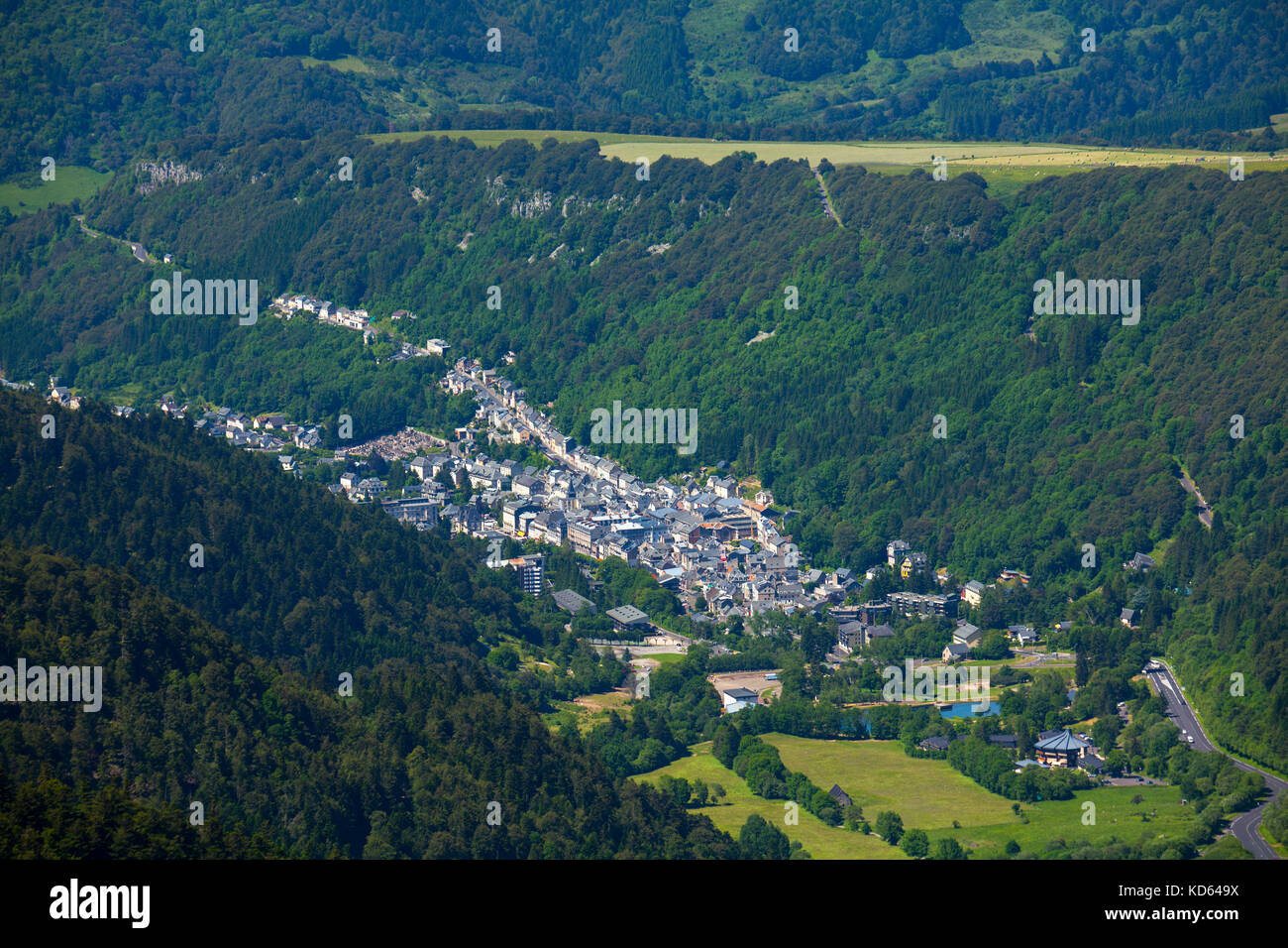 Mont Dore Central France The Town In The Valley Viewed From The Stock Photo Alamy