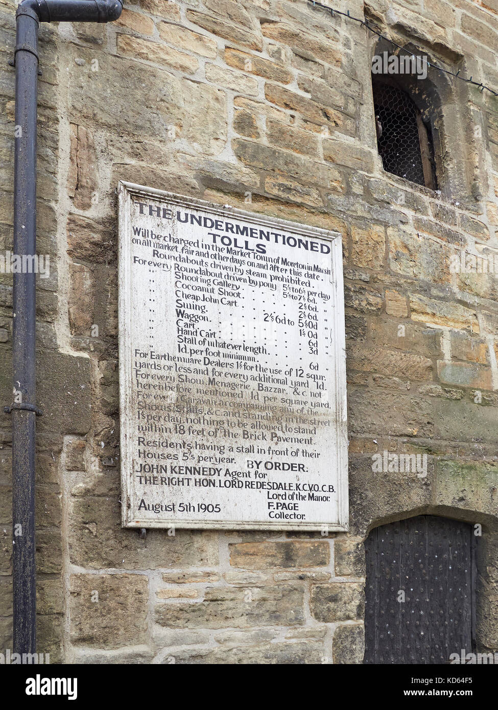 Cotswolds Moreton in Marsh Curfew tower with the market tolls - Stock Image