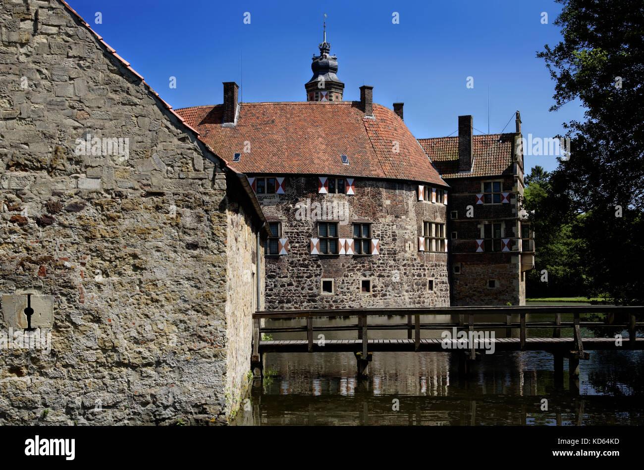 Water castle Vischering, Lüdinghausen, Luedinghausen, North Rhine-Westphalia, Germany - Stock Image