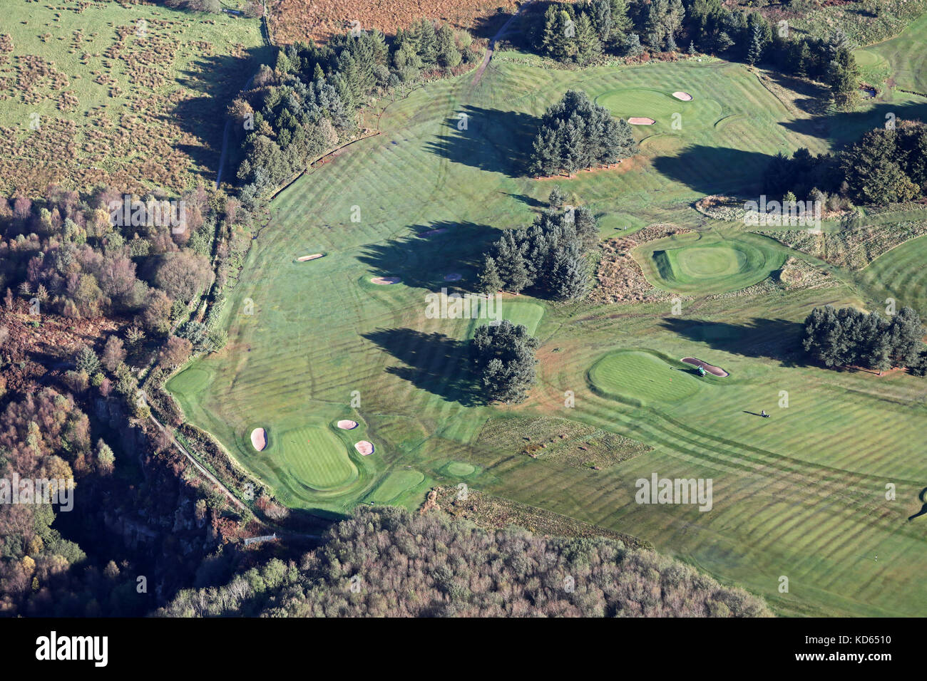 aerial view of a golf hole with fairway, green & bunkers, Lancashire, UK - Stock Image
