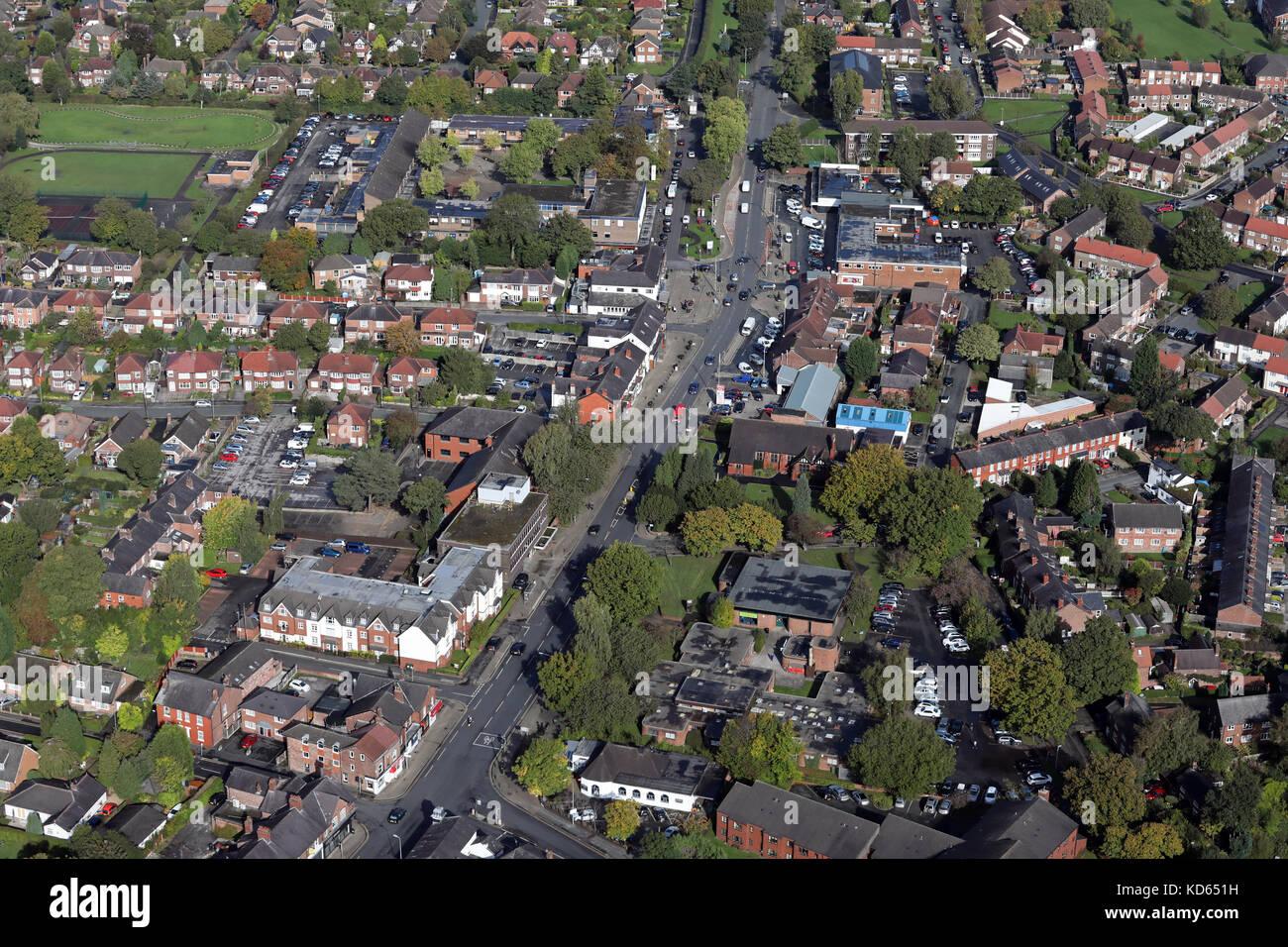 aerial view of Handforth village, Cheshire, UK - Stock Image