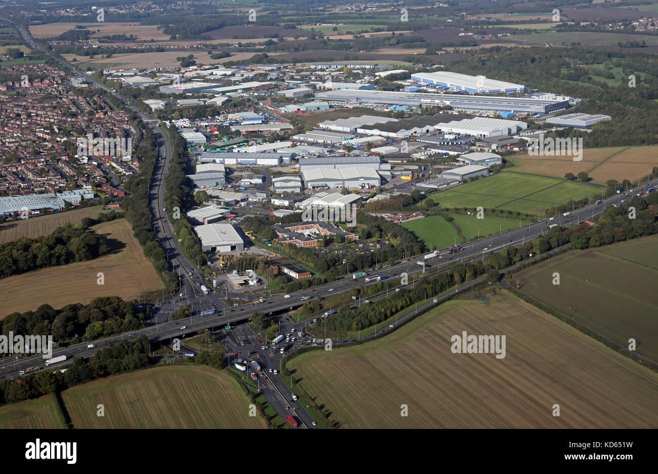 aerial view of Haydock Industrial Estate, UK - Stock Image