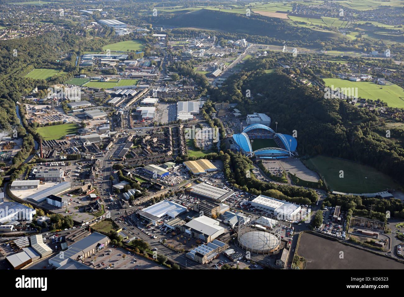 aerial view of the Leeds Road, River Colne, area of East Huddersfield, West Yorkshire, UK - Stock Image