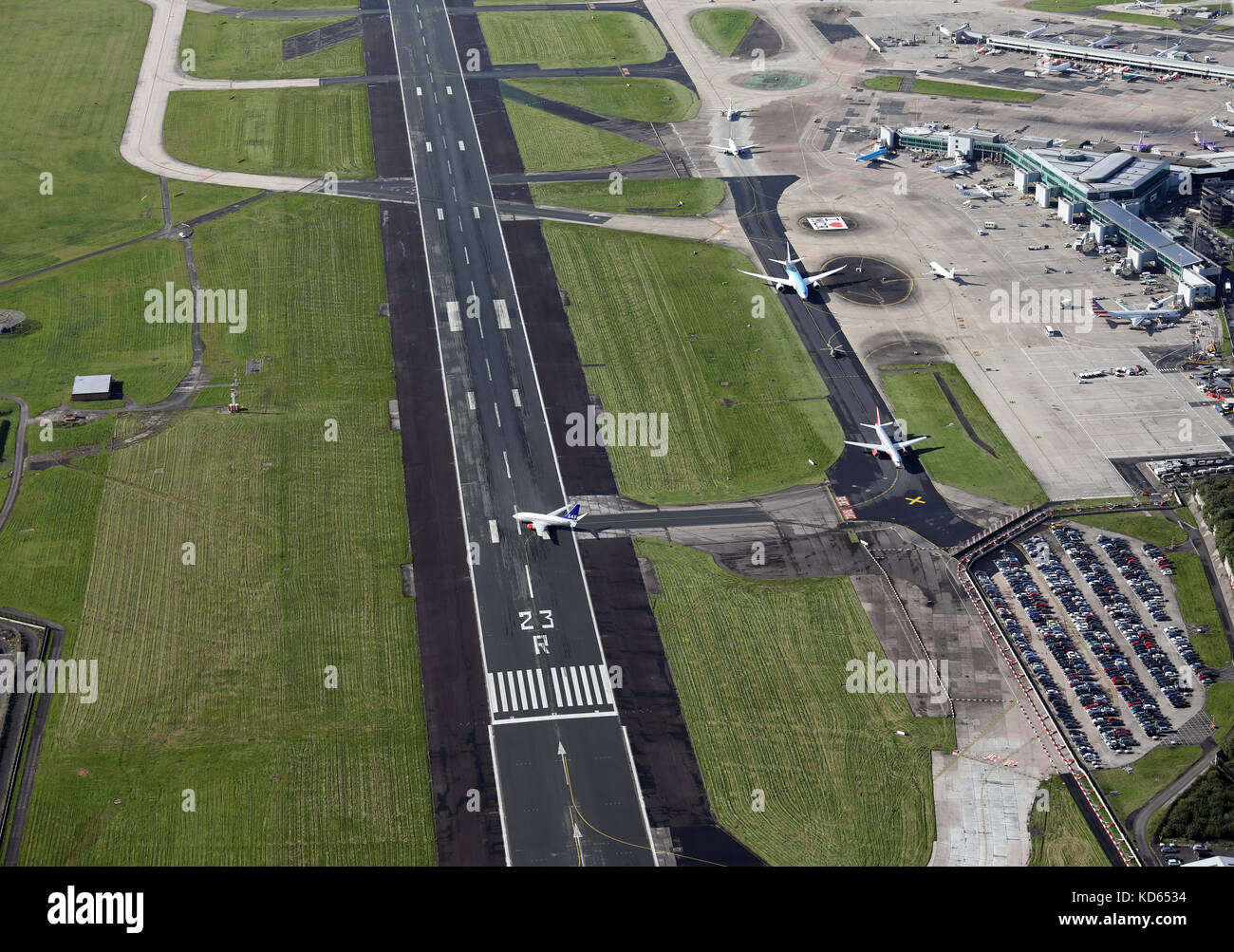 aerial view of Manchester Airport - Stock Image