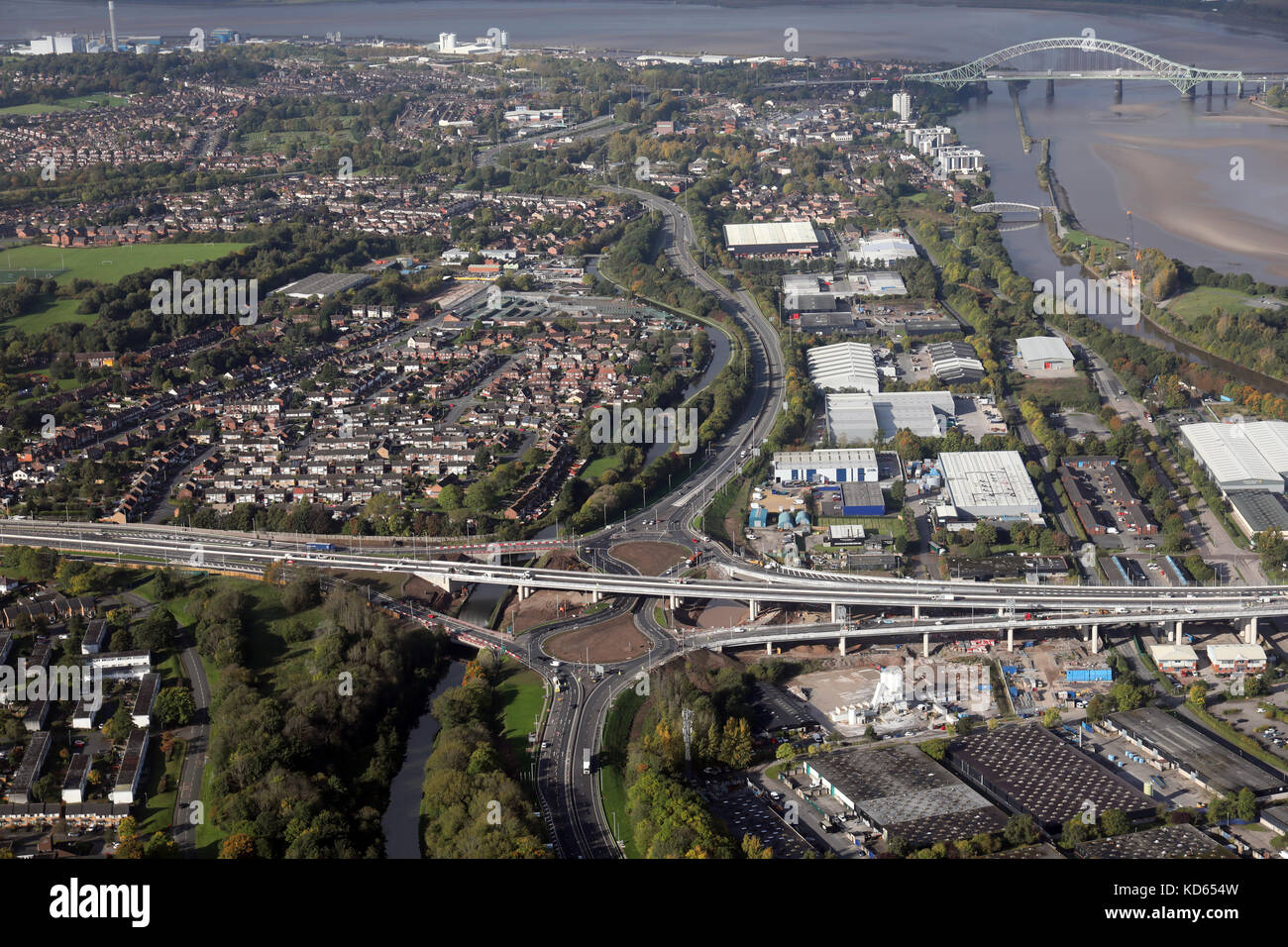 aerial view of the new A558 A533 road junction at Astmoor, Runcorn, Cheshire, UK - Stock Image