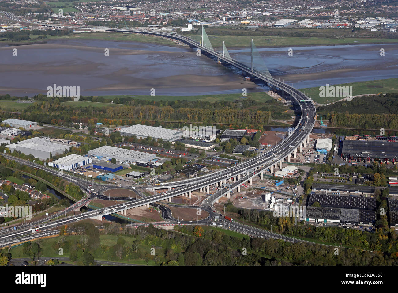 aerial view of The Mersey Gateway - the new bridge at Runcorn - Stock Image