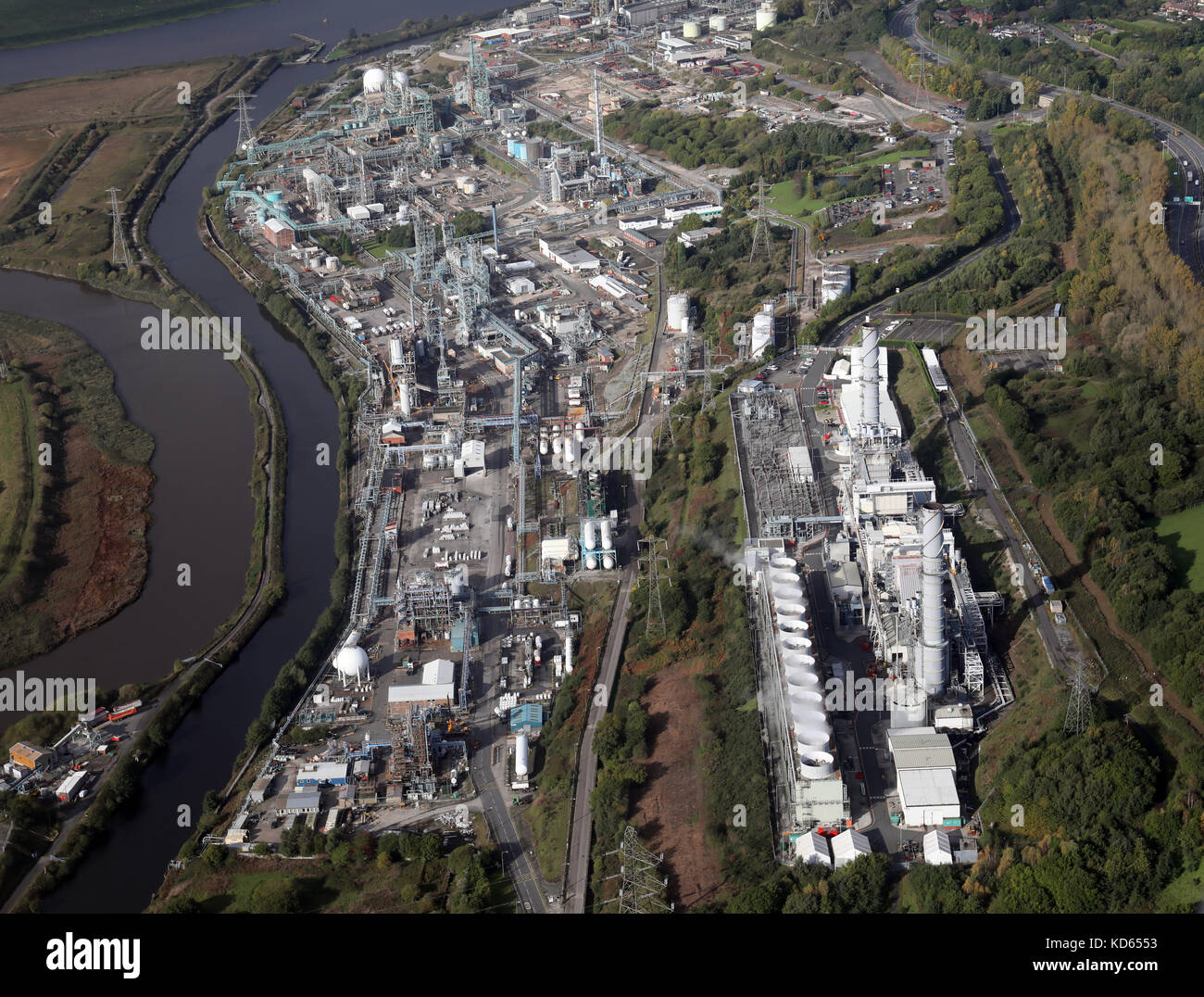 aerial view of chemical works along the Weaver Navigation canal at Runcorn including the Rocksavage Power Station. - Stock Image