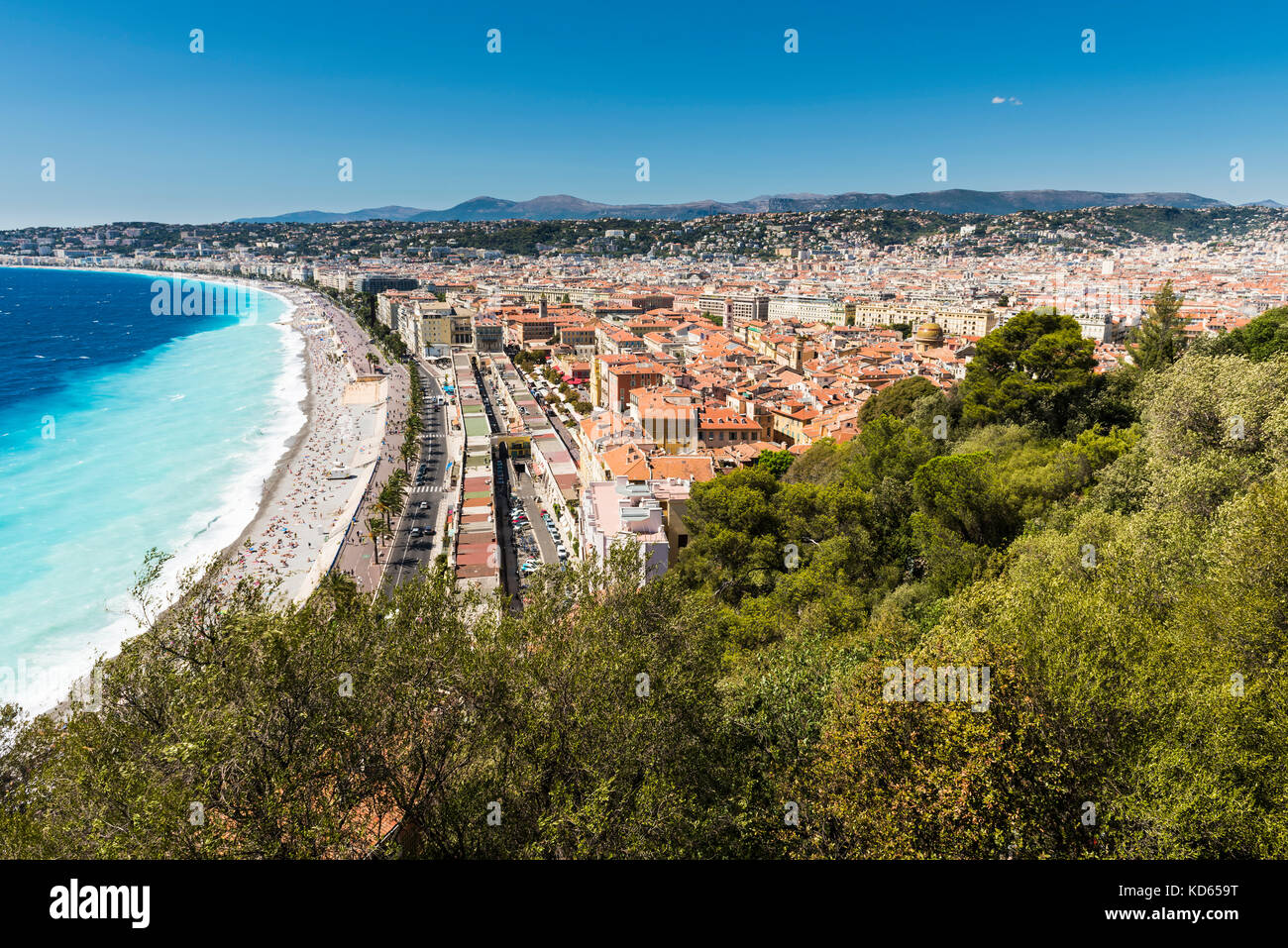 A view of the Promenade des Anglais in Nice, France taken from the park Colline du Chateau which offers amazing Stock Photo
