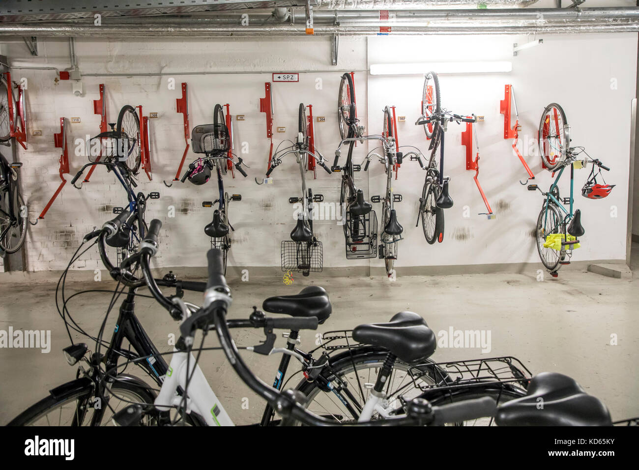 Public bike storage, at the central station in  Essen, Germany, bicycles can be parked here, securely, - Stock Image
