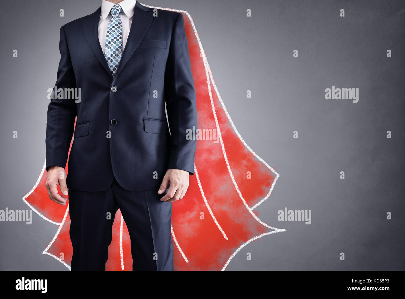 Superhero businessman with red cape drawing on background concept for leadership Stock Photo
