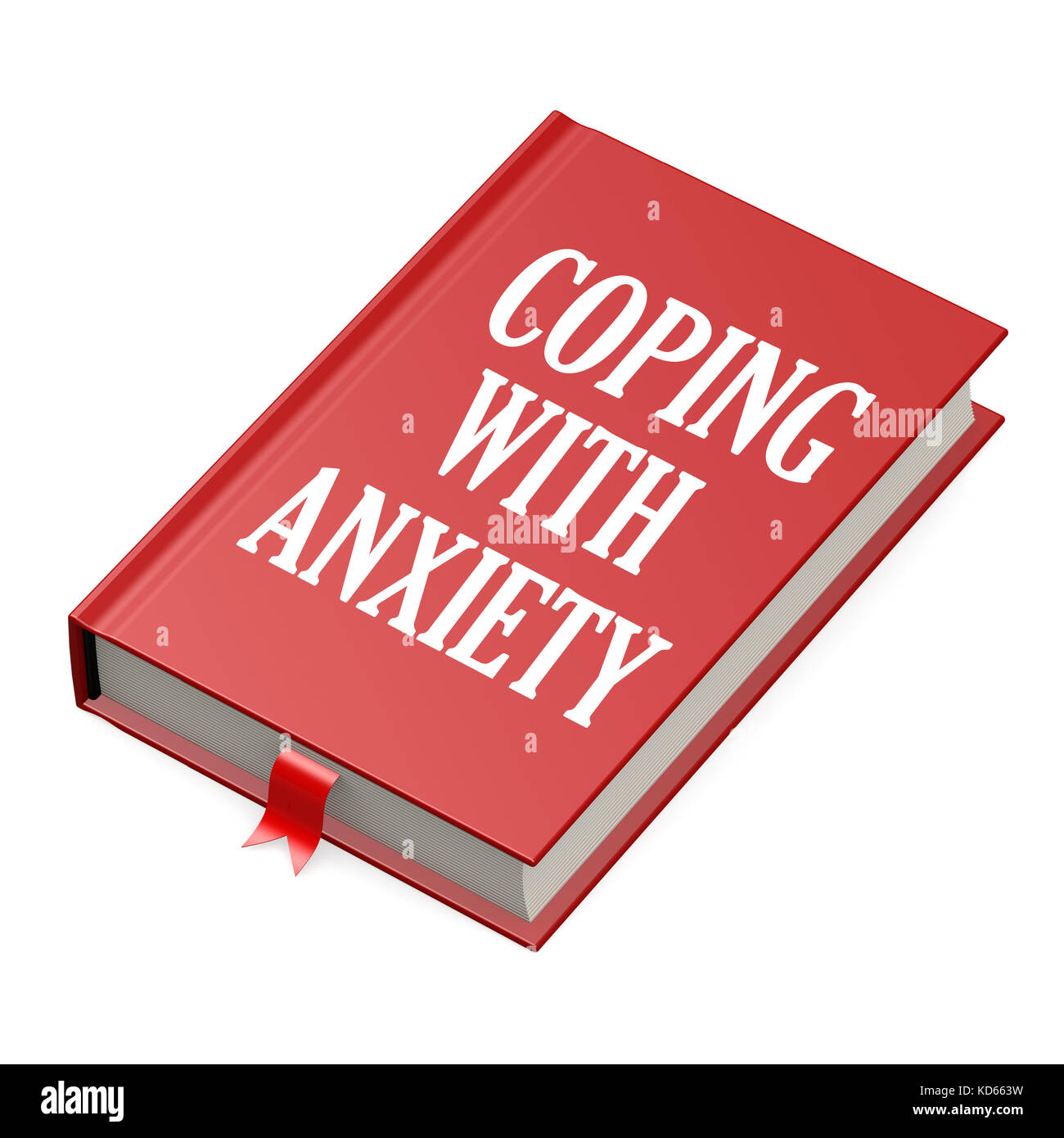 Book with an anxiety concept title title image with hi-res rendered artwork that could be used for any graphic design. - Stock Image