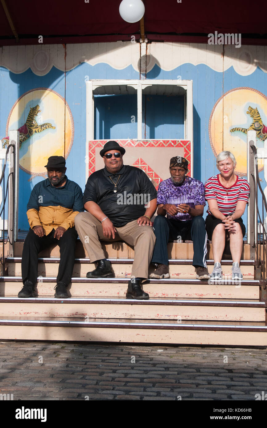 Christine Otten and The Last Poets (Umar Bin Hassan, Baba Donn Babatunde, Abiodun Oyewole) attend a photocall during - Stock Image