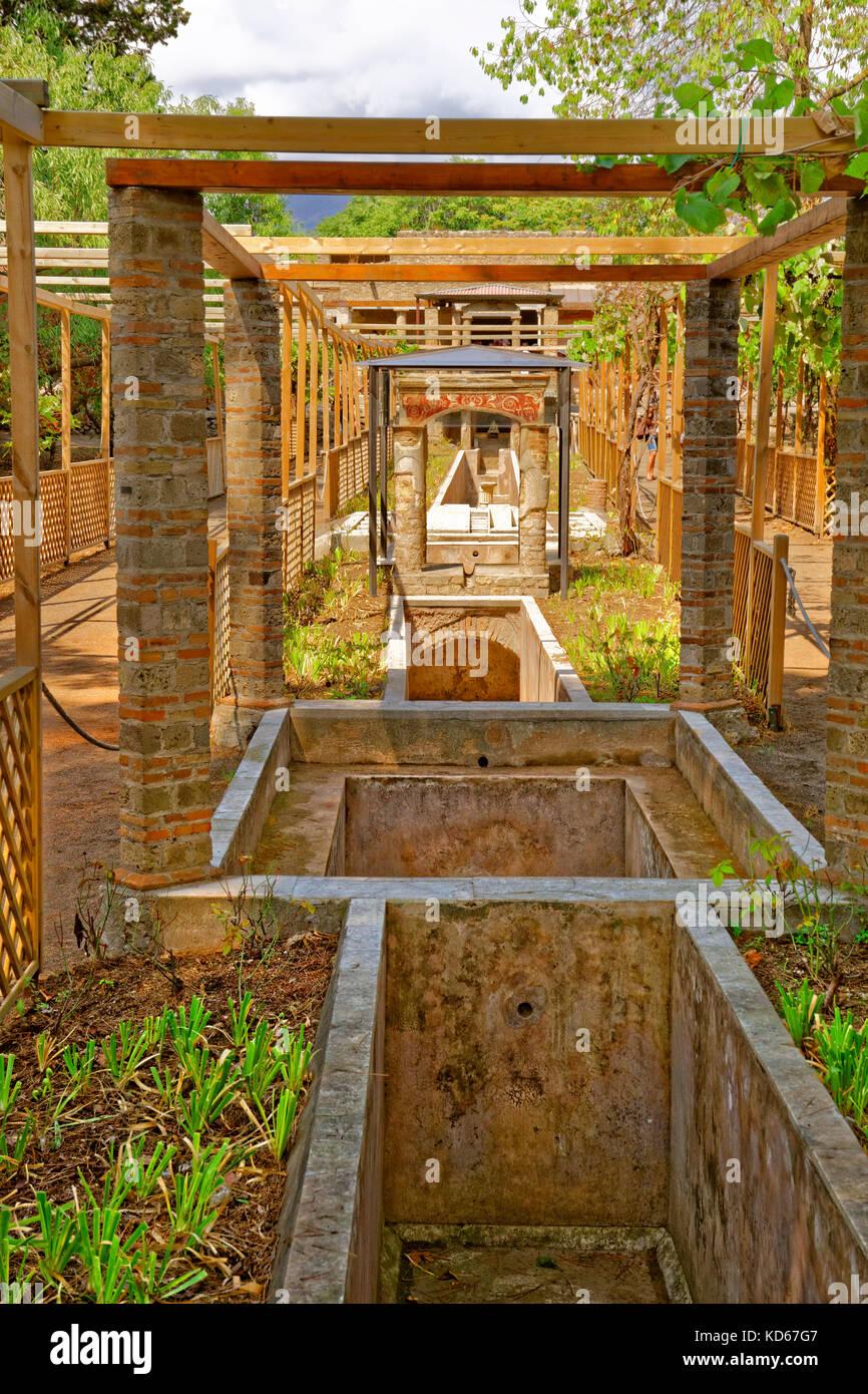 Garden and water course of the Octavius Quarto house at the ruined Roman city of Pompeii at Pompei Scavi, near Naples, Stock Photo