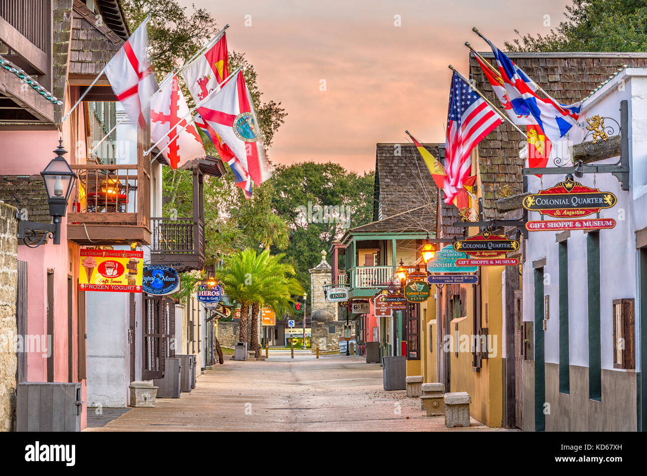ST. AUGUSTINE, FLORIDA - JANUARY 5, 2015: Shops and inns line St. George. Once the main street, it is still considered - Stock Image