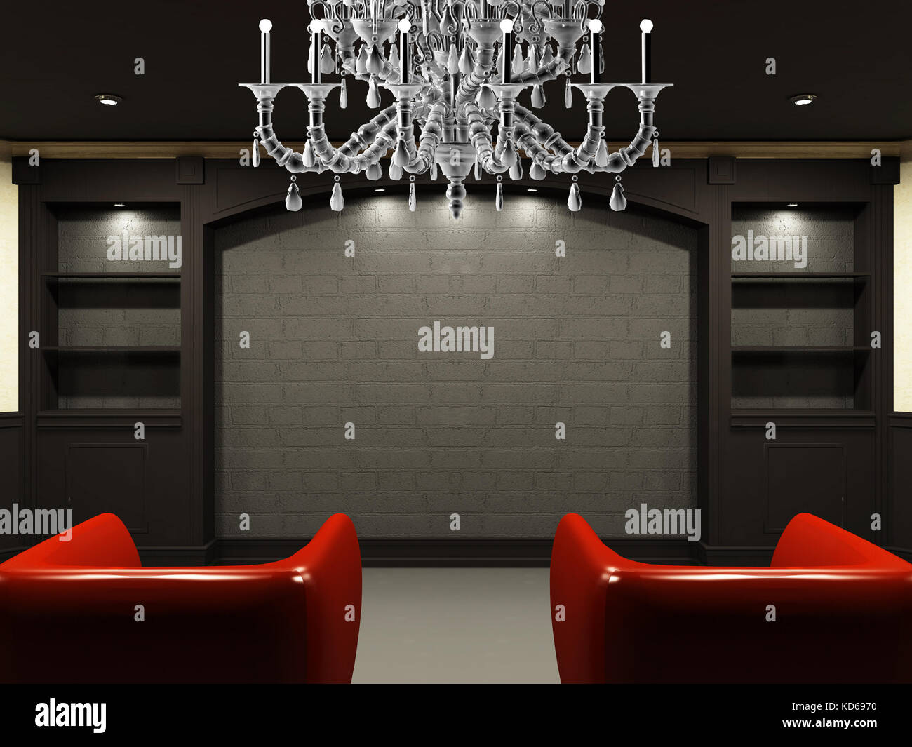 Red Chairs In Living Room With Emty Place On The Wall Stock Photo