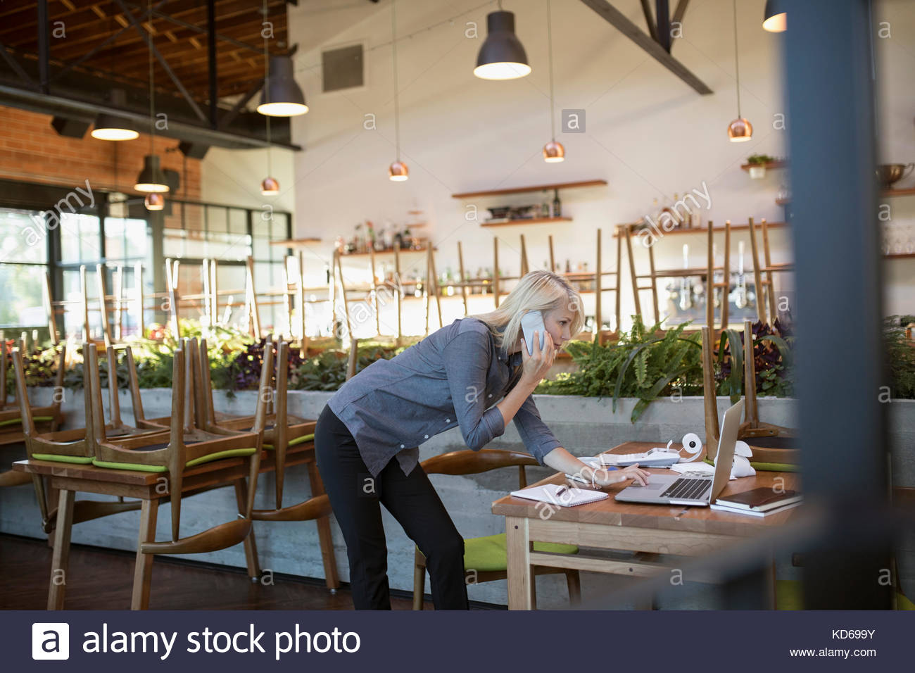 Female cafe business owner talking on cell phone, working at laptop - Stock Image