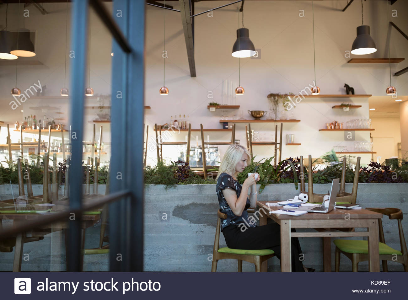 Female cafe business owner paying bills, working at laptop - Stock Image
