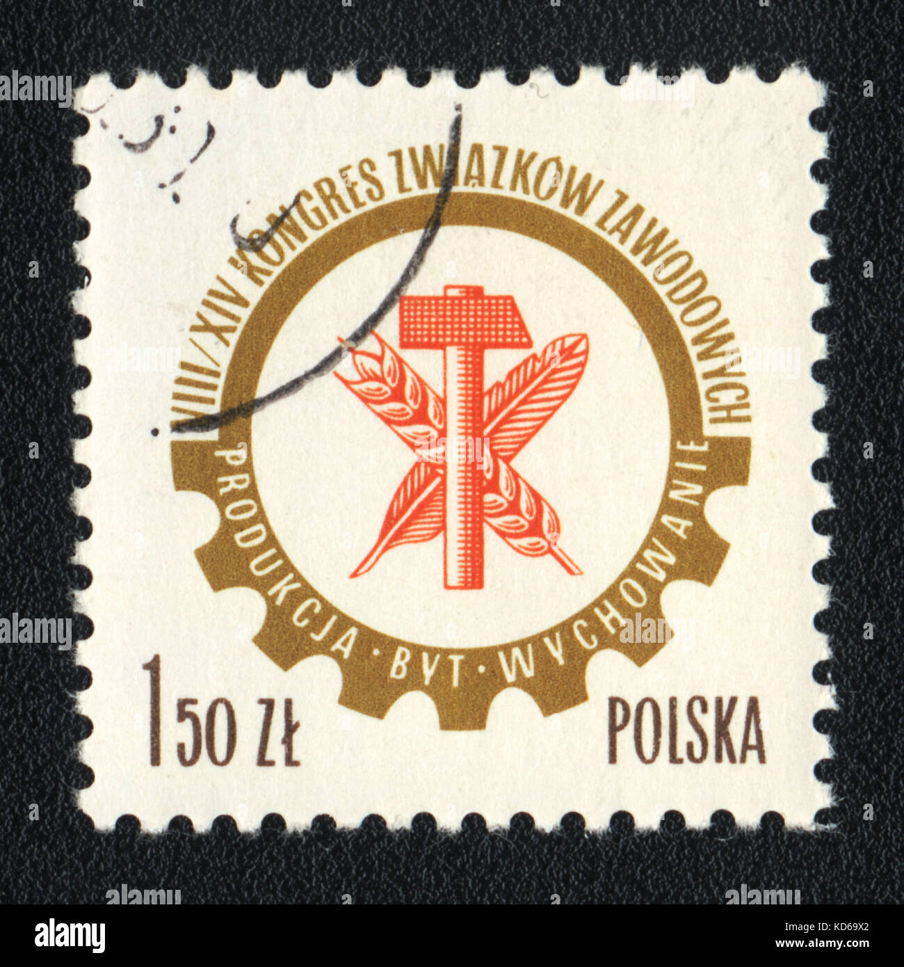 A postage stamp printed in POLAND shows VIII -XIX Congress of Trade Unions, circa 1980 - Stock Image