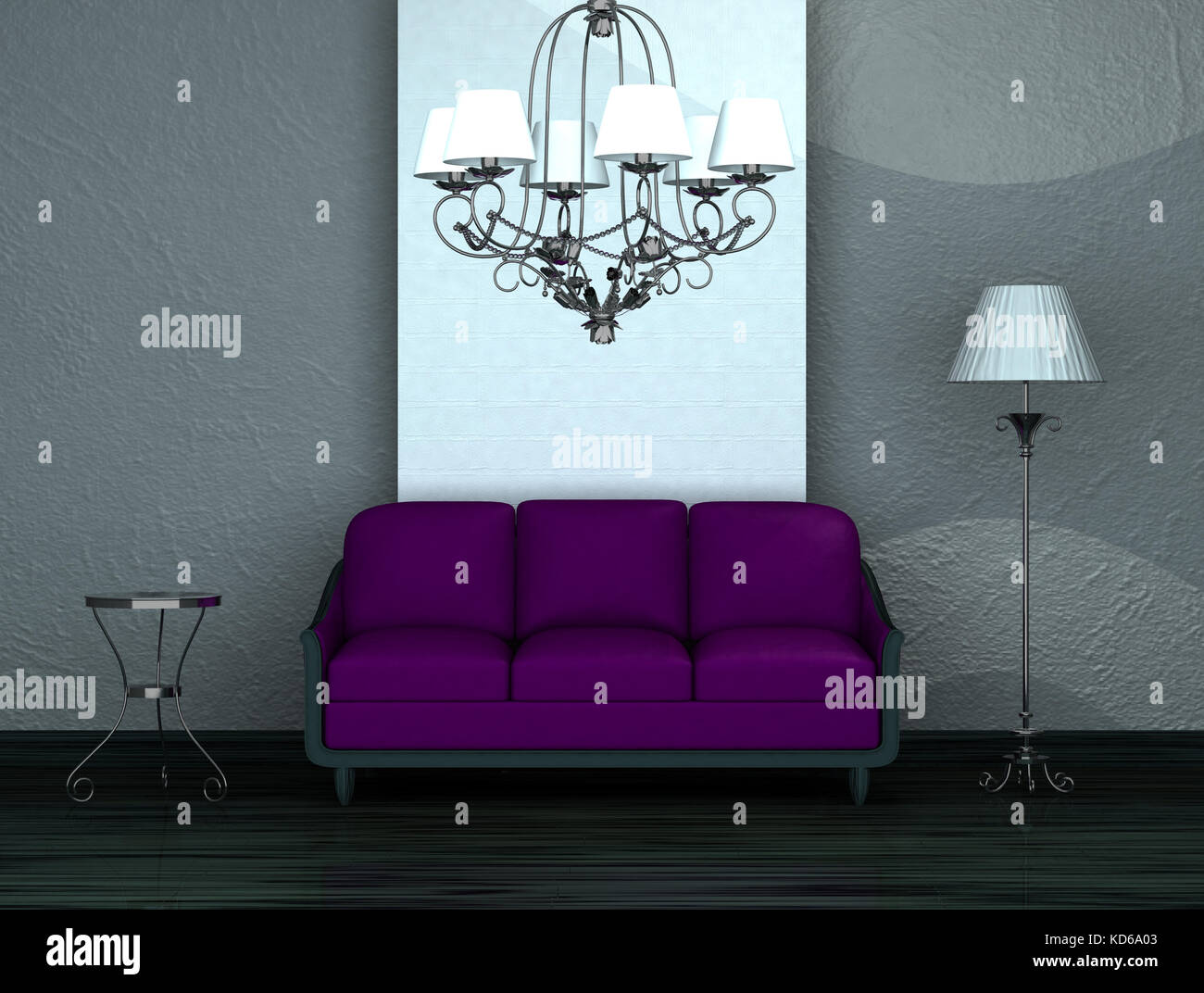 Purple Sofa With Table Stand Lamp And Luxury Chandelier In Stock Photo Alamy