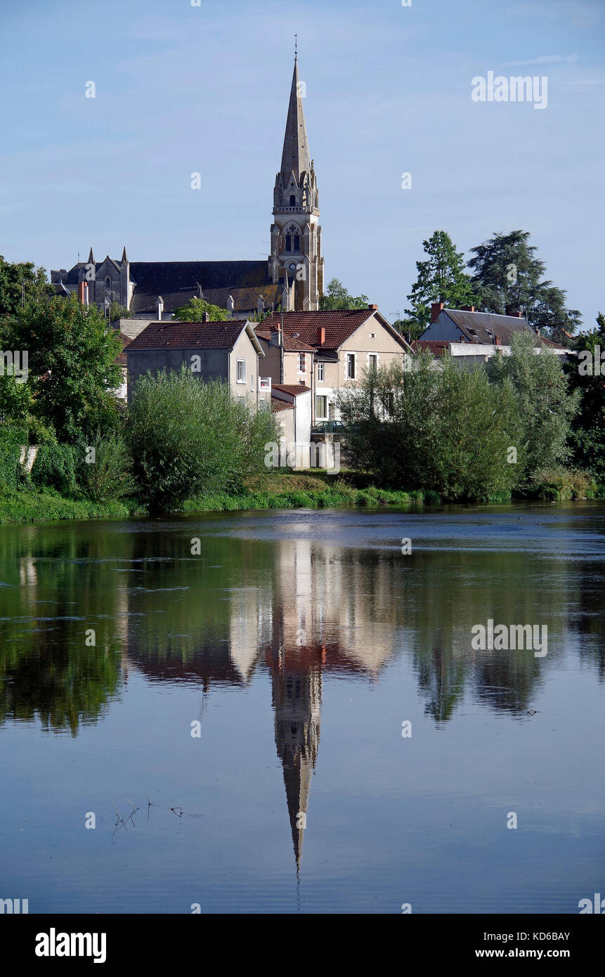 View of river Gartempe, riverside houses, church of St Martial, dominating tis side of the town, - Stock Image
