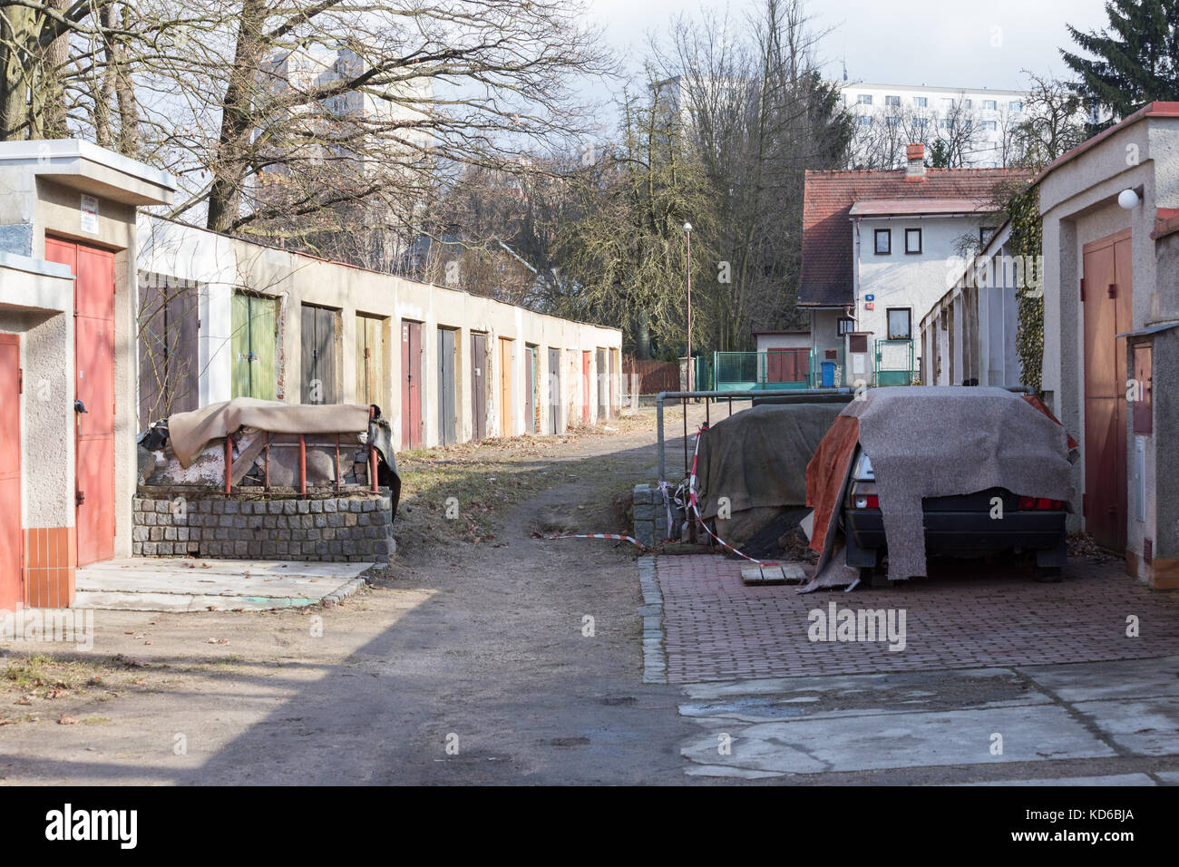 Great Garage Alley In A Poor District Of The Czech City Liberec In Europe
