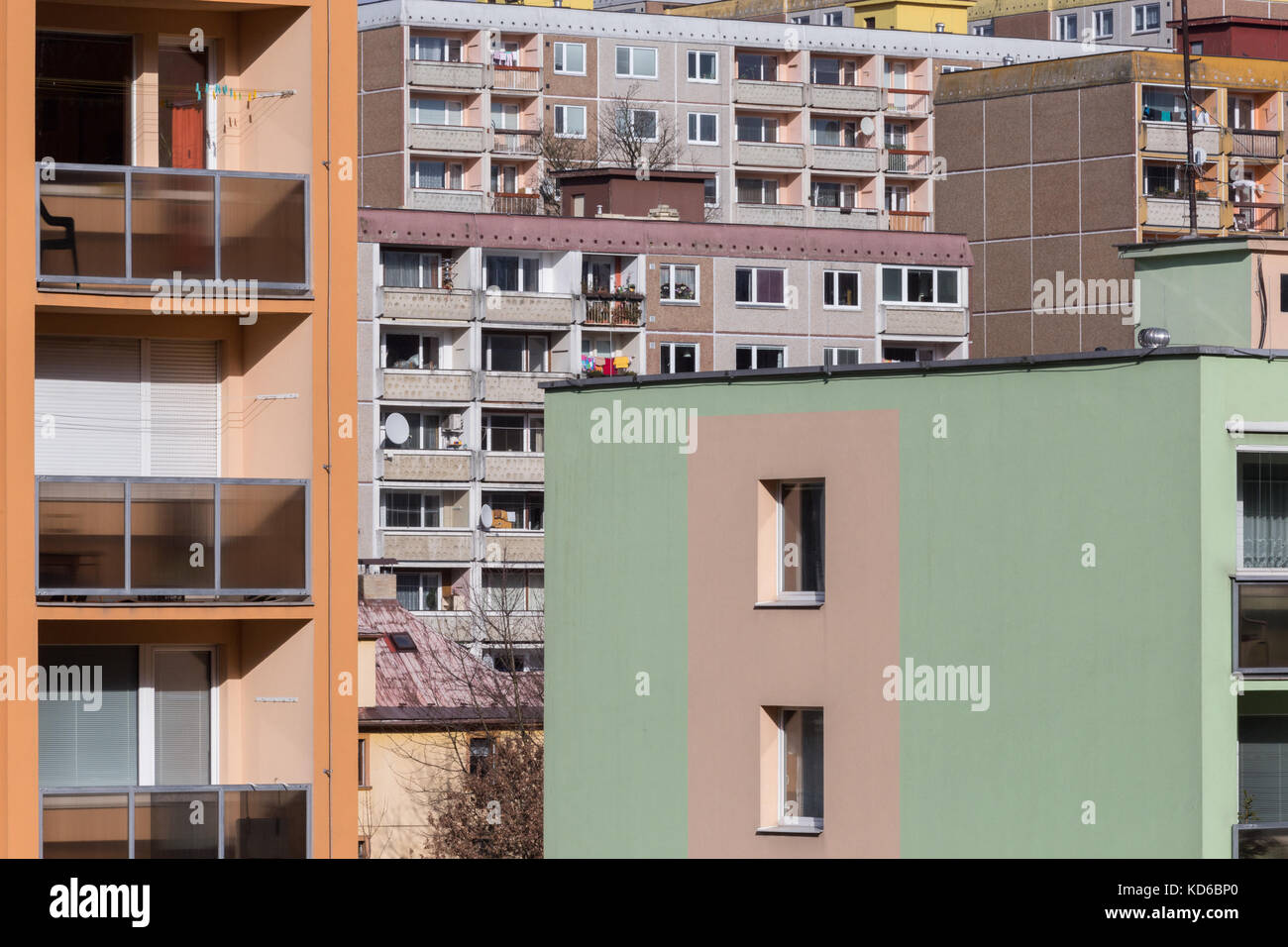 Socialist realism architecture in East European city Liberec - Stock Image