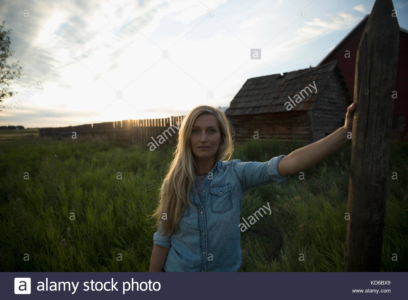 Portrait confident young female farmer leaning on fence post on farm at sunset - Stock Image