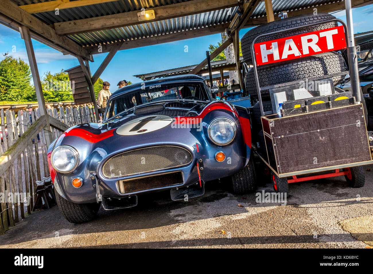 David and Oliver Hart's 1963 AC Cobra in the paddock garage at the 2017 Goodwood Revival, Sussex, UK. RAC TT - Stock Image