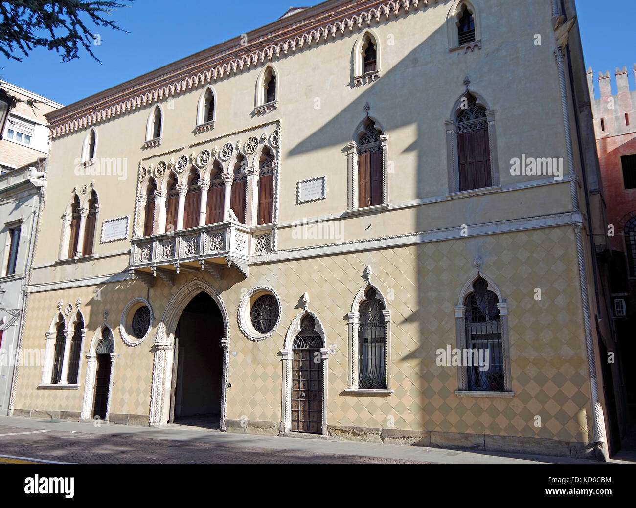 Palazzo Romanin Jacur, in Padua, Italy, a 14th century Venetian Gothic palace, - Stock Image