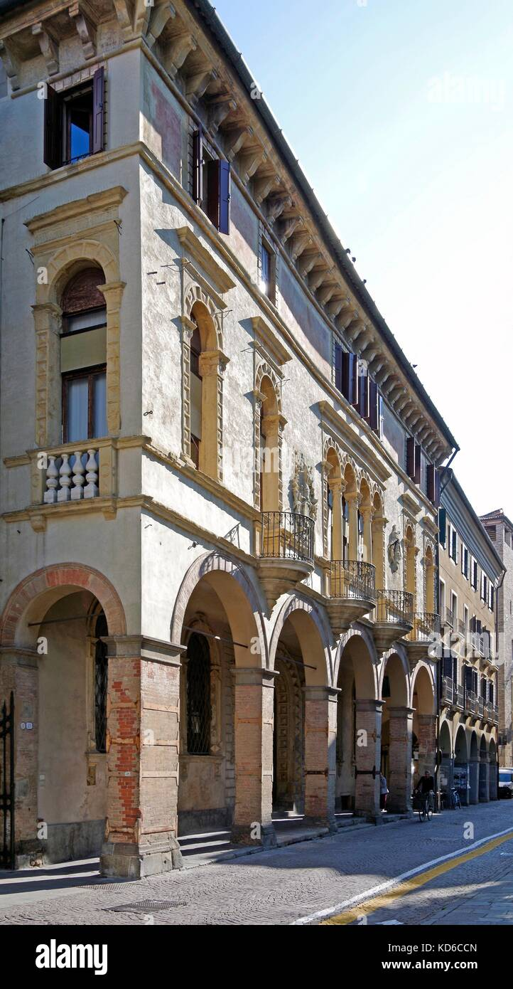 The Palazzo Sala in Padua, Italy, 15th century palazzetto, on the Venetian pattern - Stock Image