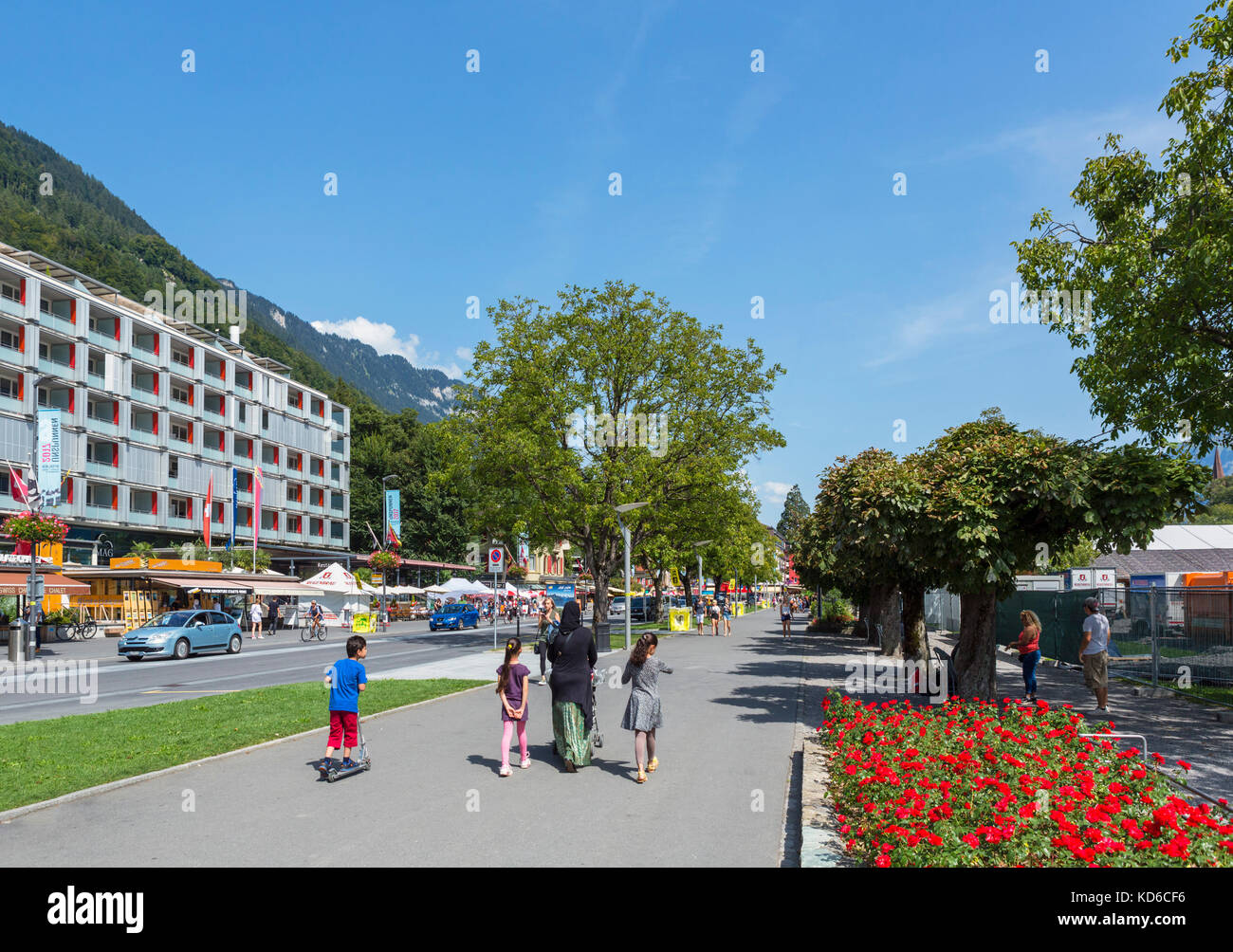 Höheweg, the main street in Interlaken, Switzerland Stock Photo