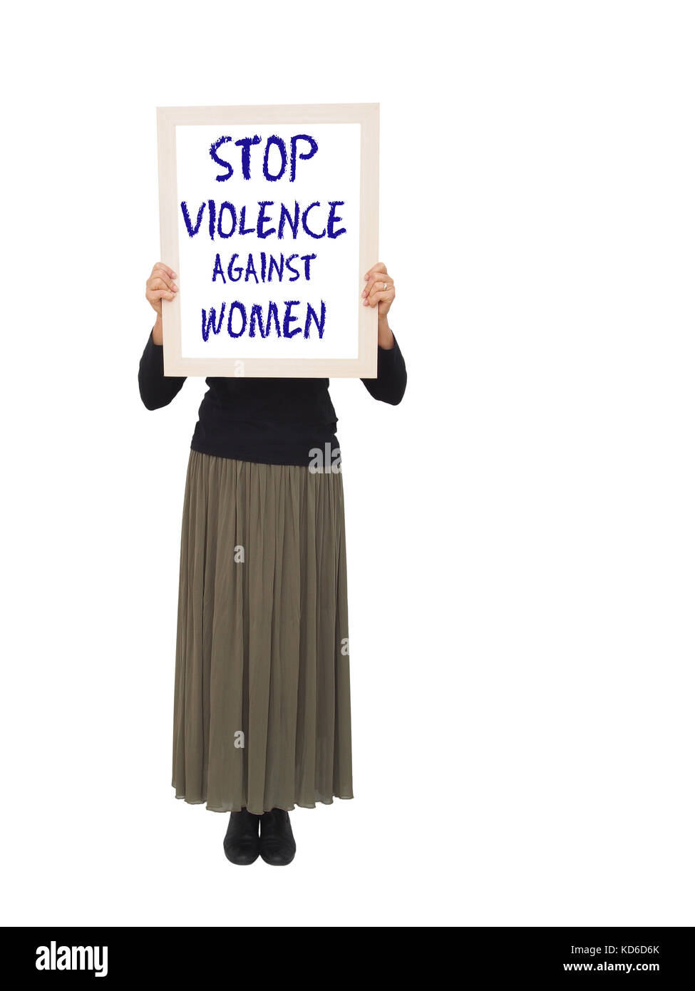 Woman with anti violence placard. - Stock Image