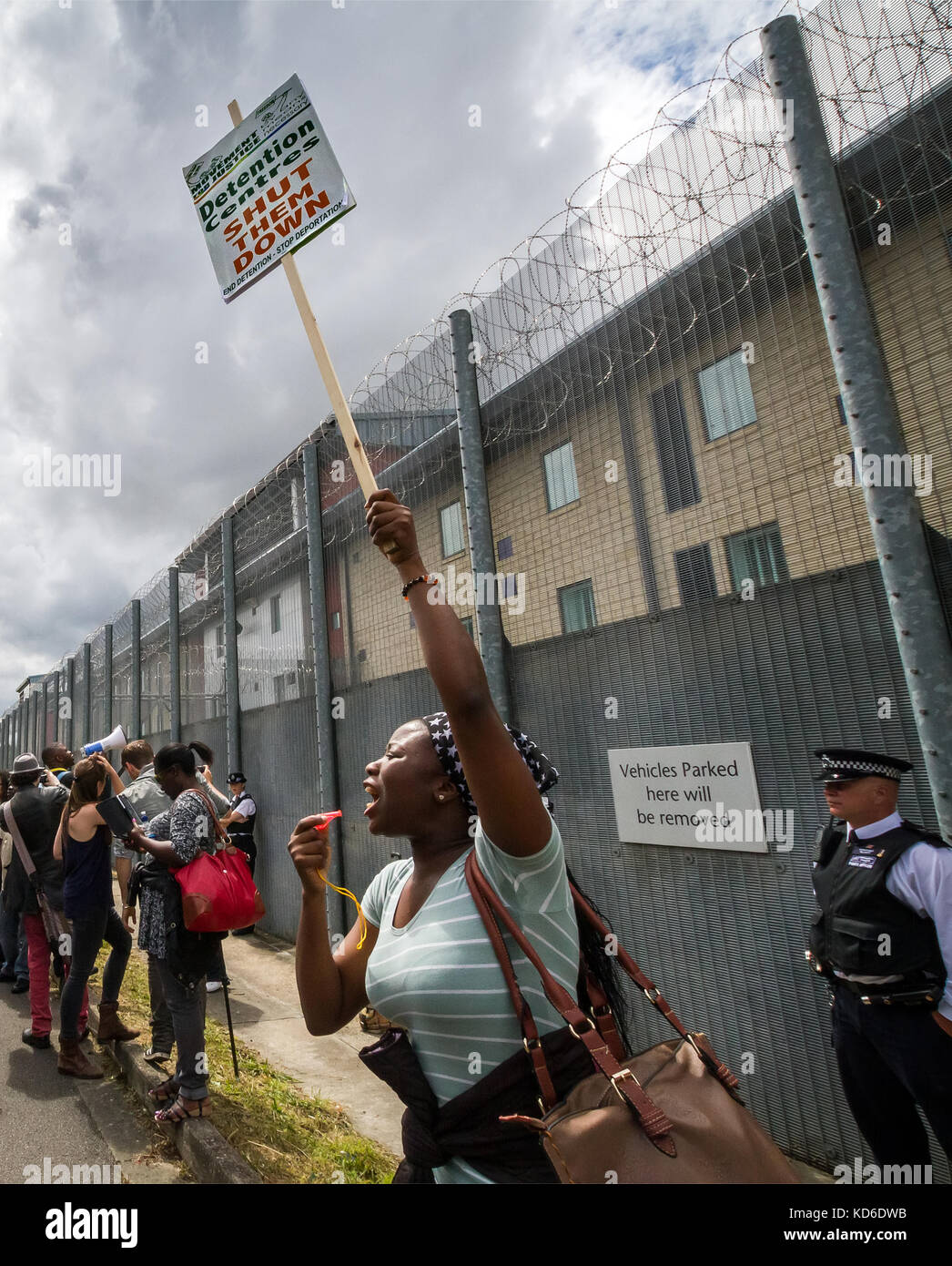 Protest to Shut Down Harmondsworth Immigration Removal Centre in Middlesex, UK. - Stock Image