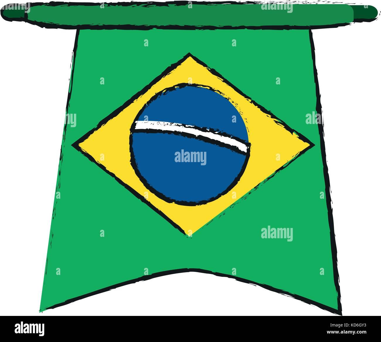 Brazil flag symbol icon vector illustration graphic design - Stock Image