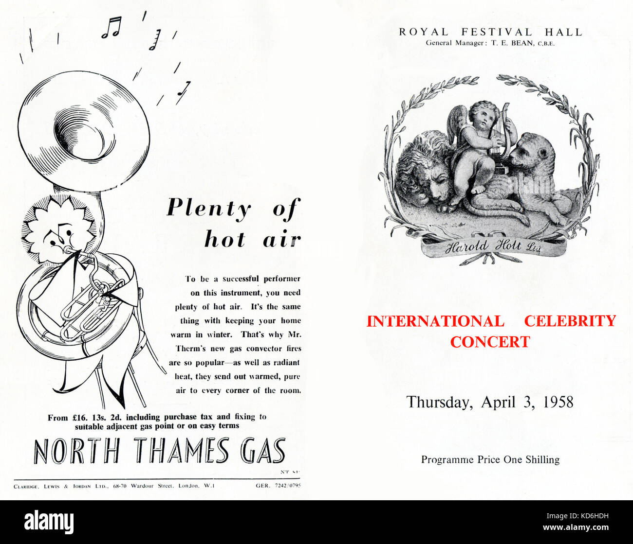 Royal Festival Hall programme cover for International celebrity concert, produced by Harold Holt, 3rd April 1958. - Stock Image