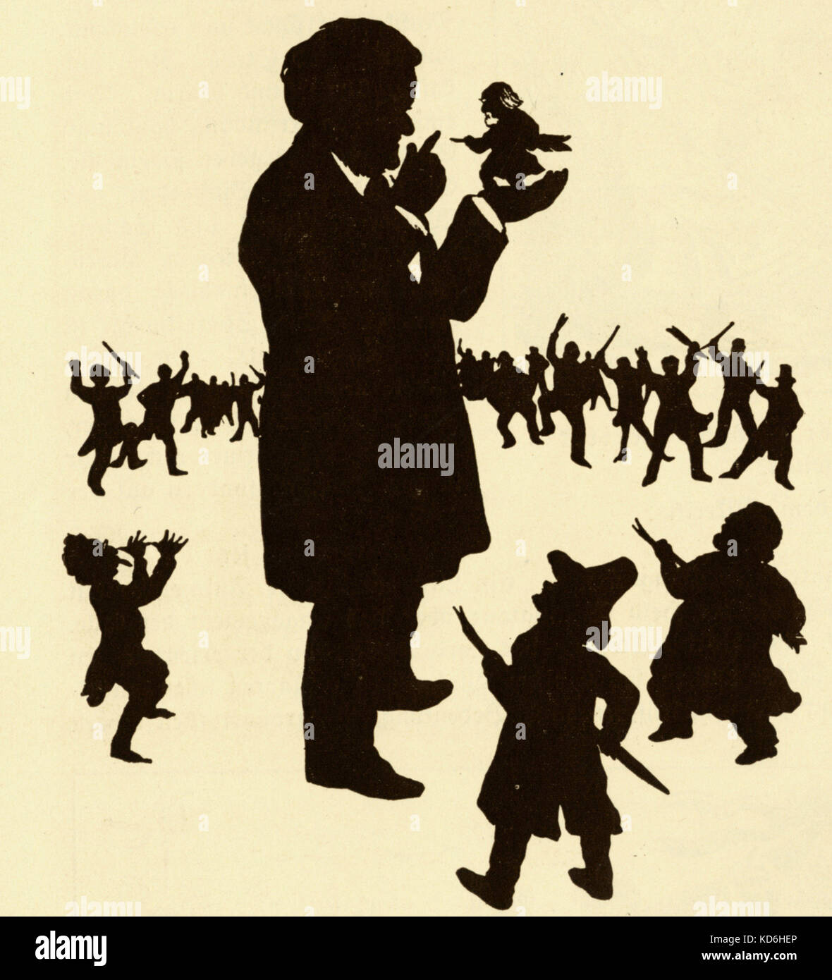 Wagner on silhouetted caricature entitled 'Wagner and the critics' ('Wagner und die Kritik'). The - Stock Image