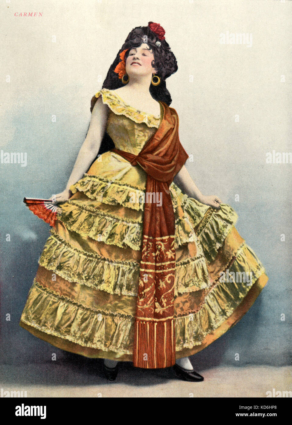 Georgette LeBlanc as Carmen in Bizet's opera, 'Carmen', in 1899. From front cover of Le Théatre,   1899. Stock Photo