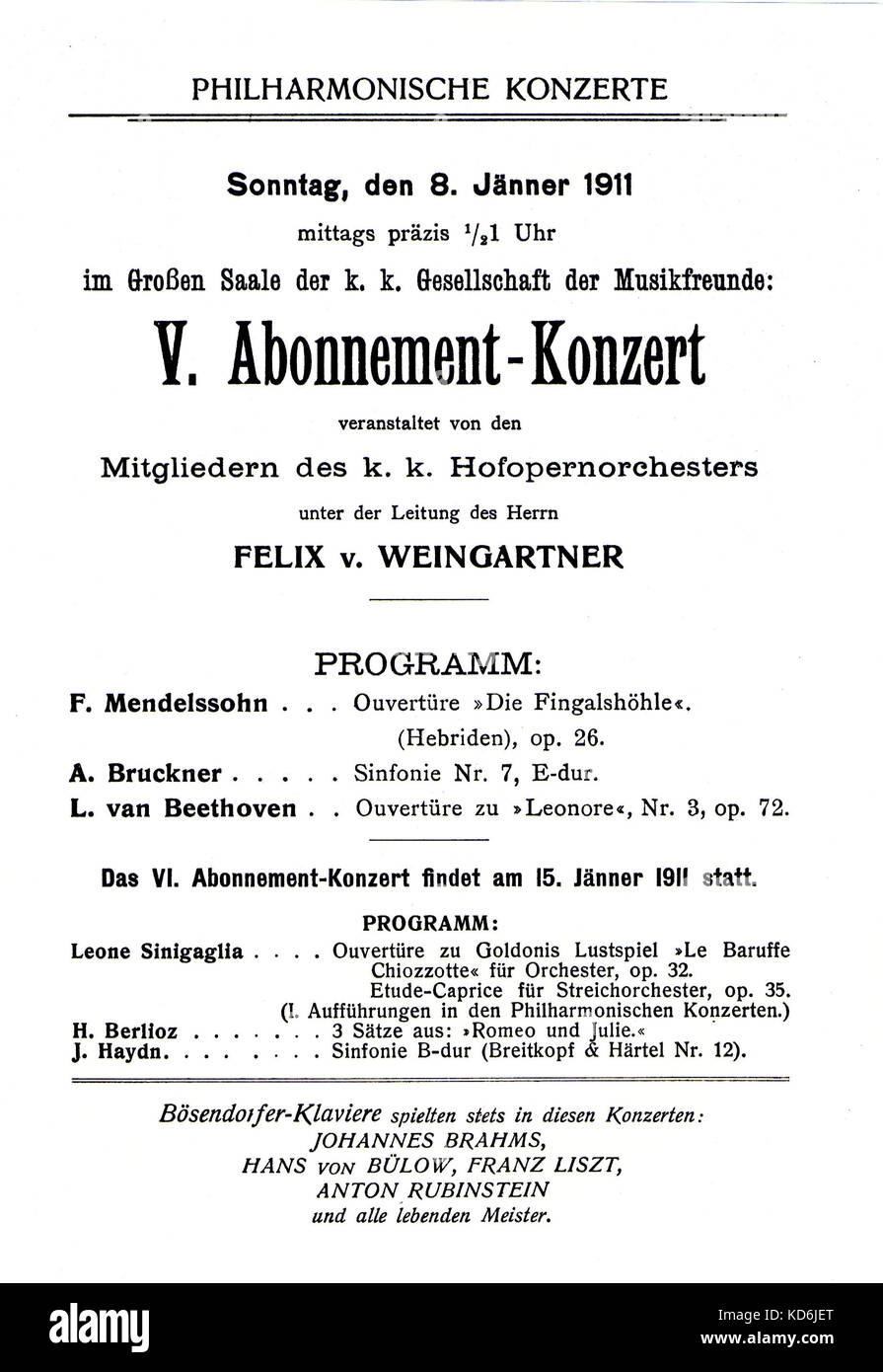 Announcement for a concert,  Felix Weingartner conducting the Vienna Philharmonic Orchestra at the Gesellschaft - Stock Image
