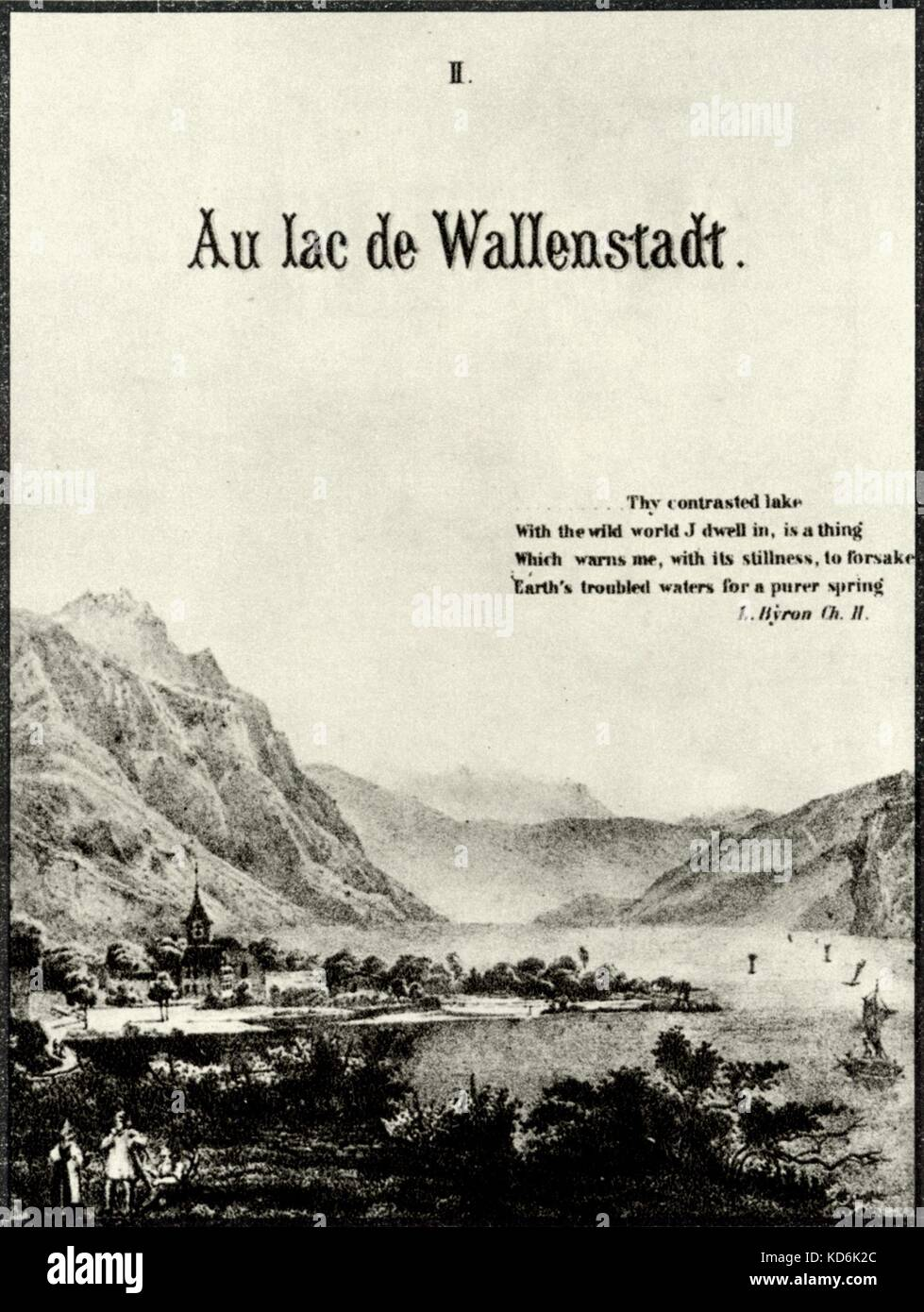 Book II ('Au lac de Wallenstadt') from Franz Liszt's collection of piano pieces 'Années de - Stock Image