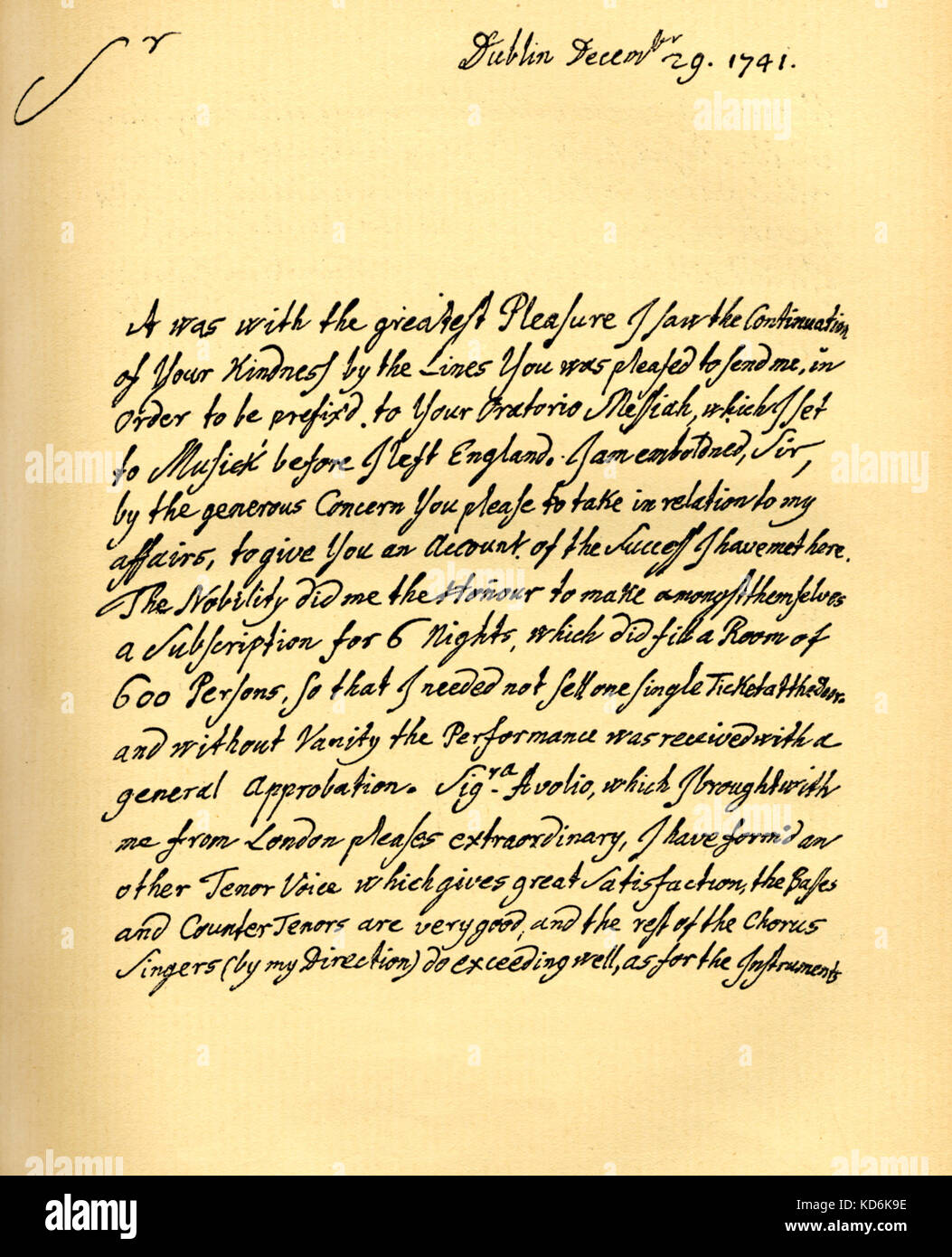 Handels Letter From Dublin To Charles Jennens Who Selected Words From The Bible Isiah For Messiah Oratorio Words Set To Music Before He Left England