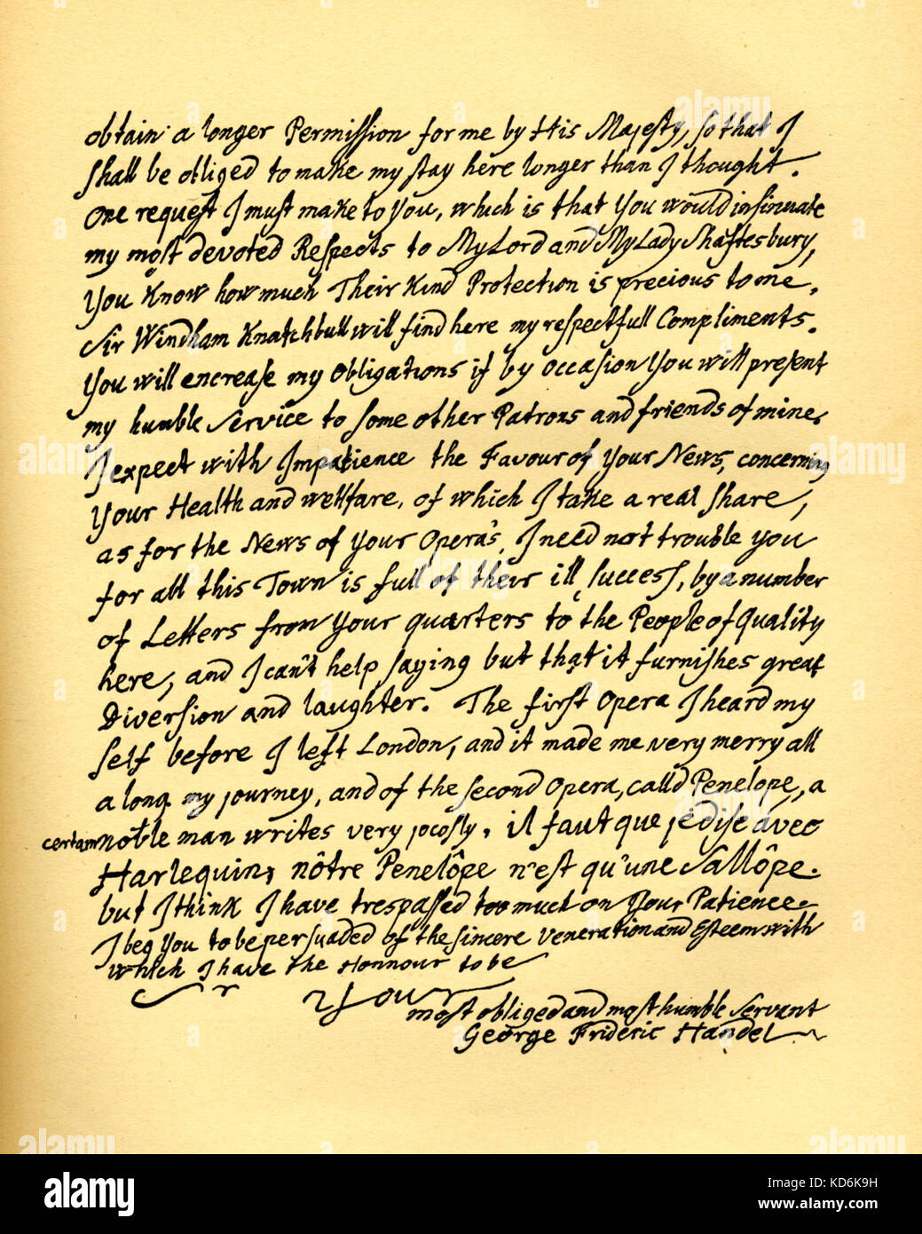 Handels Letter From Dublin To Charles Jennens Who Selected Words From Isiah In The Bible For Messiah Oratorio Words Set To Music Before He Left England