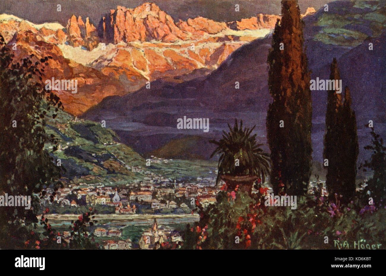 View of Bolzano, Toblach and Dolomite scenery, by Rudolf A lfred Hoger, where Mahler lived and composed 9th and - Stock Image