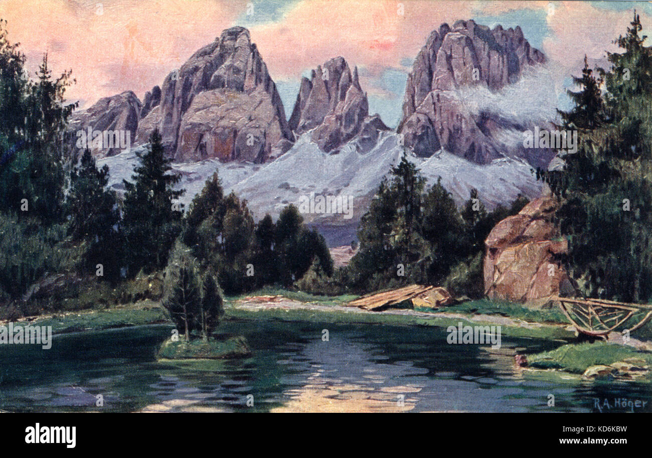 View  of Dolomite scenery, Tolbach, Tyrol where Mahler lived and composed 9th and 10th Symphony and 'Das Lied - Stock Image