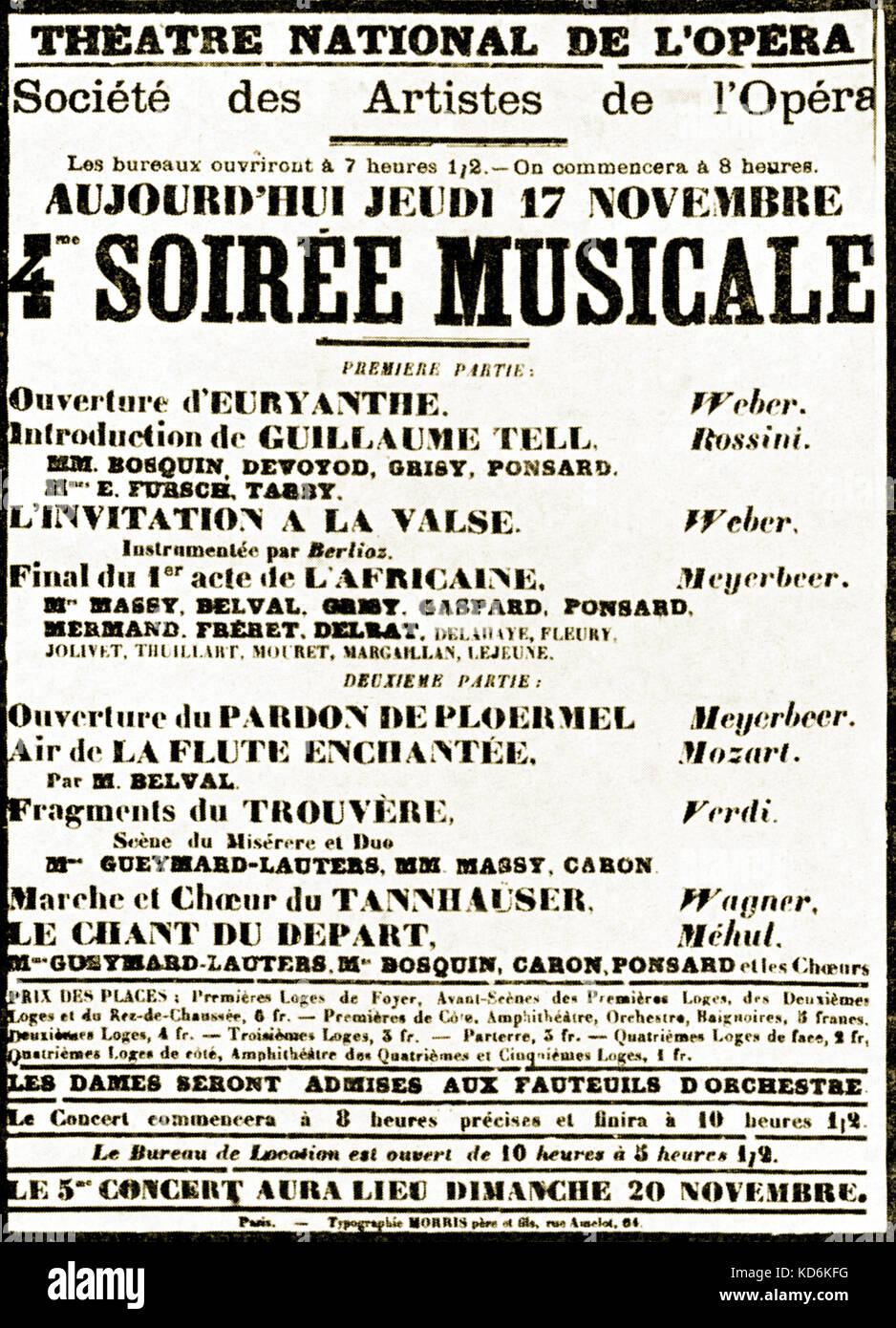 Parisian Opera Poster from 17th November 1870 Théâtre National de l'Opéra.  Société - Stock Image